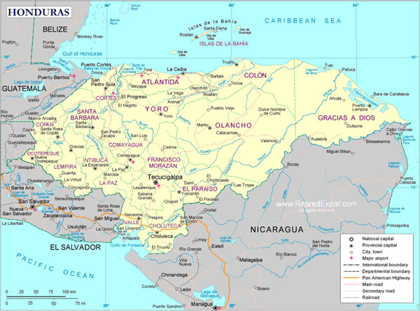 Large detailed political map of Honduras.