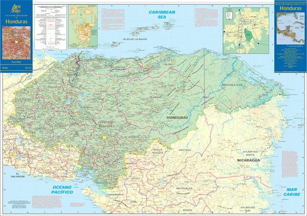 Large detailed road map of Honduras. Honduras large detailed road map.