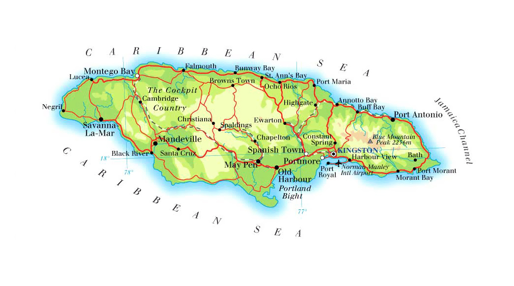 Detailed physical and road map of Jamaica. Jamaica detailed physical ...