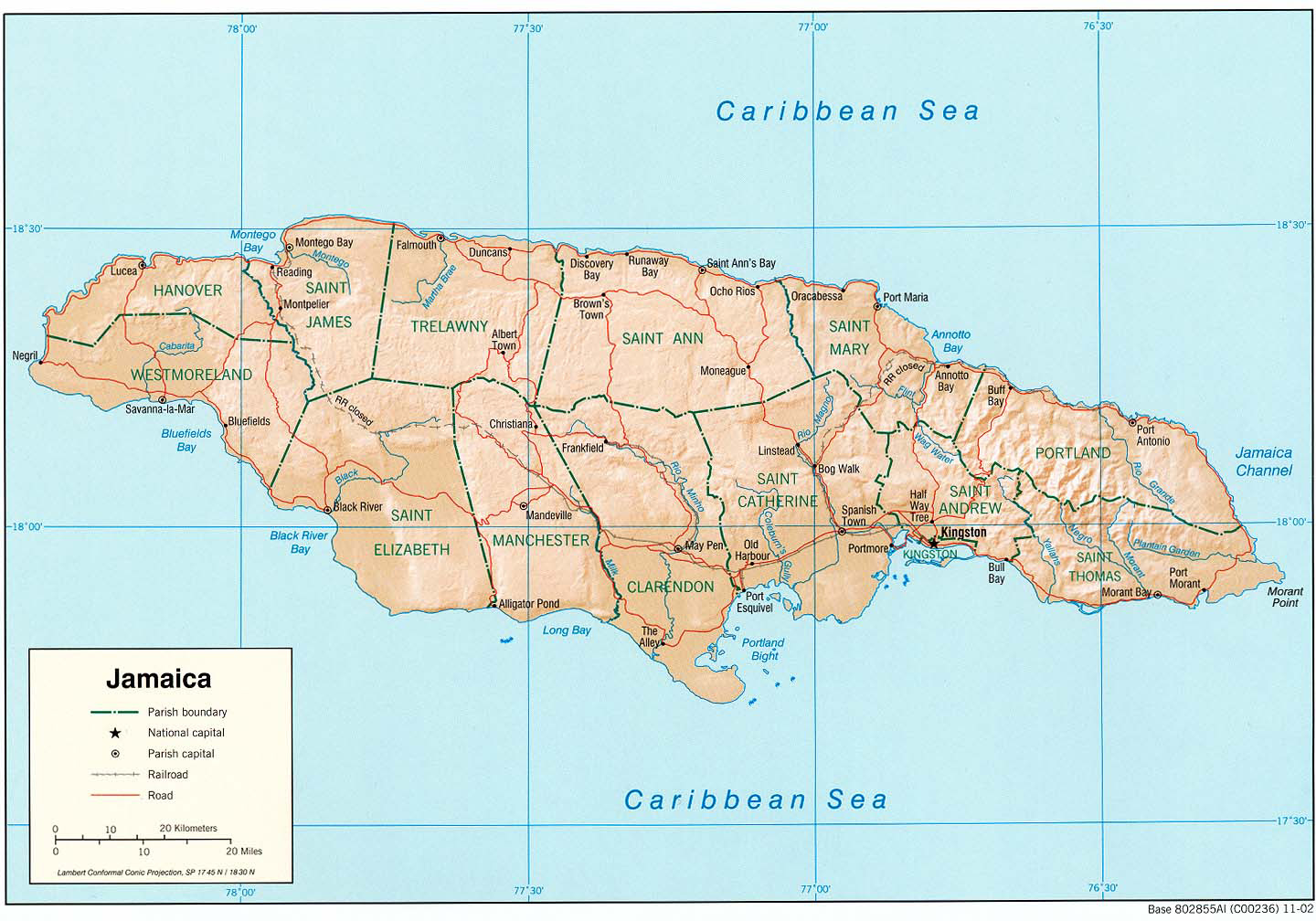Large detailed administrative and relief map of Jamaica. Jamaica ...