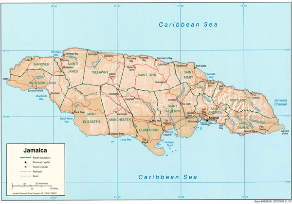 Large detailed administrative and relief map of Jamaica.