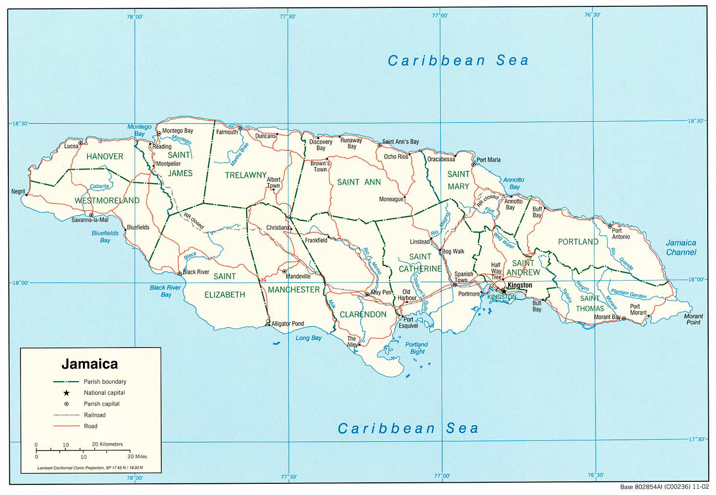 Large detailed administrative and road map of Jamaica. Jamaica large ...
