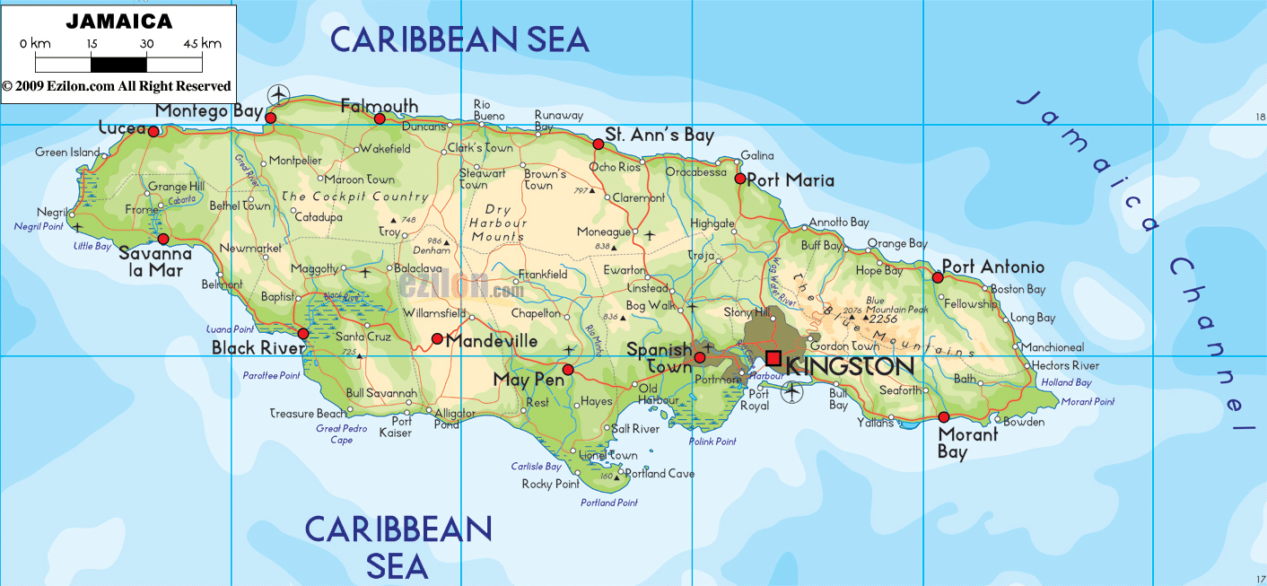 Large detailed physical and road map of Jamaica with cities Jamaica