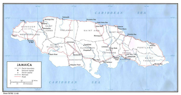 Large detailed political map of Jamaica.