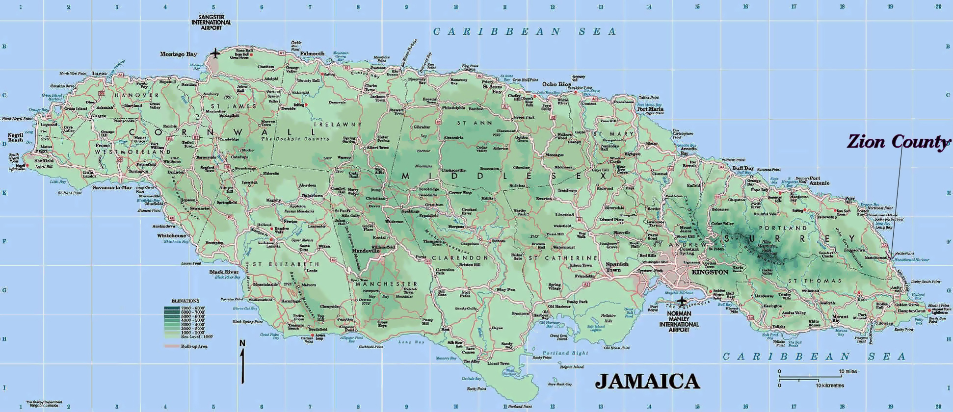 Large detailed road and physical map of Jamaica Jamaica large