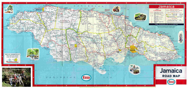 Large detailed road and tourist map of Jamaica.