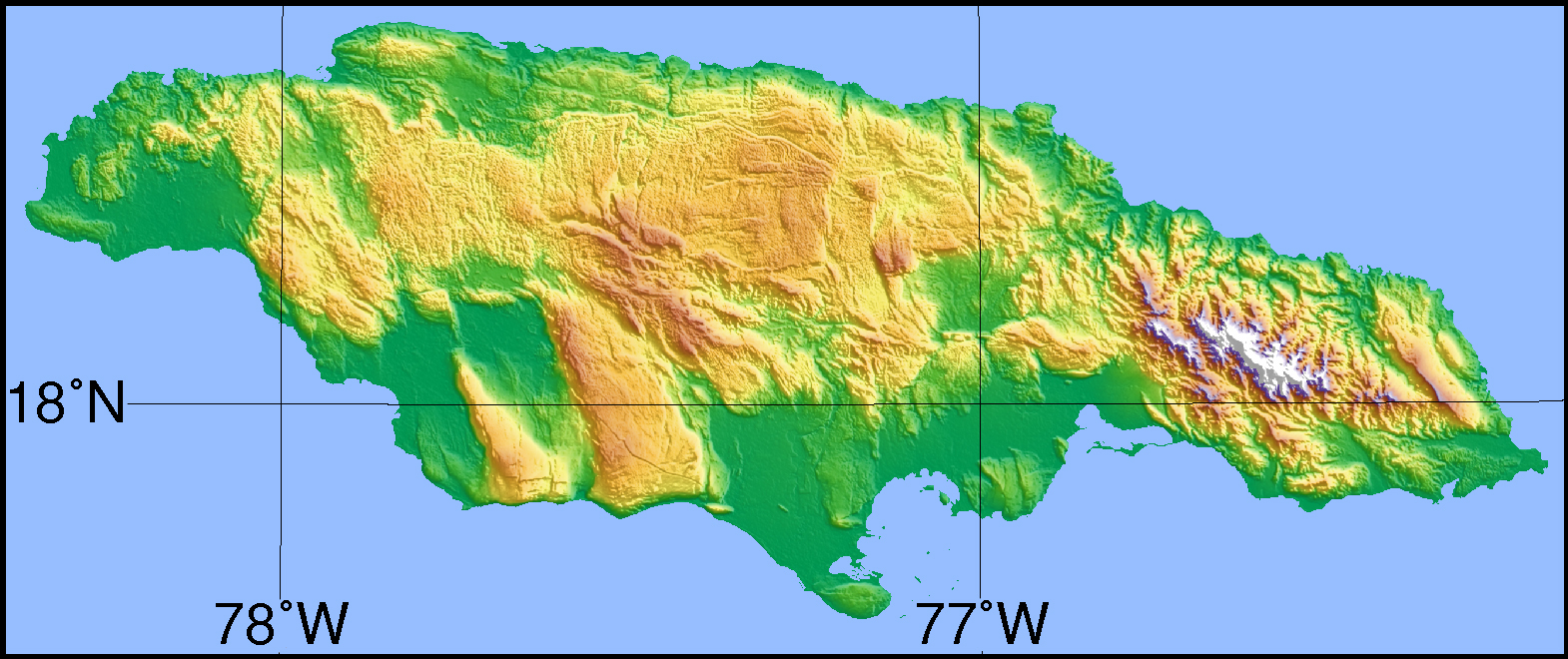 Large detailed topographical map of Jamaica Jamaica large detailed