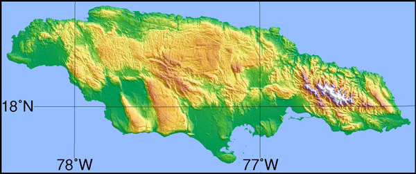 Large detailed topographical map of Jamaica.