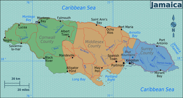 Large map of the regions of Jamaica. Jamaica regions large map.