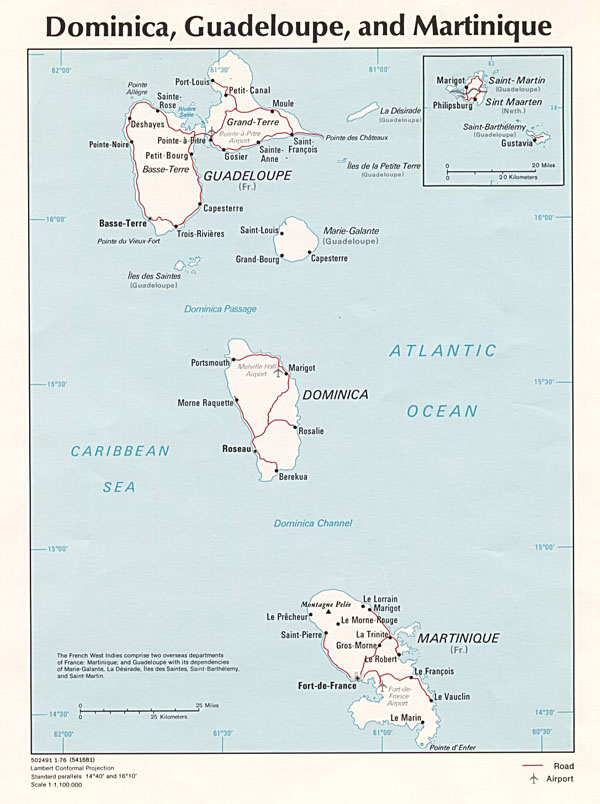 Large detailed political map of Dominica, Guadeloupe and Martinique.