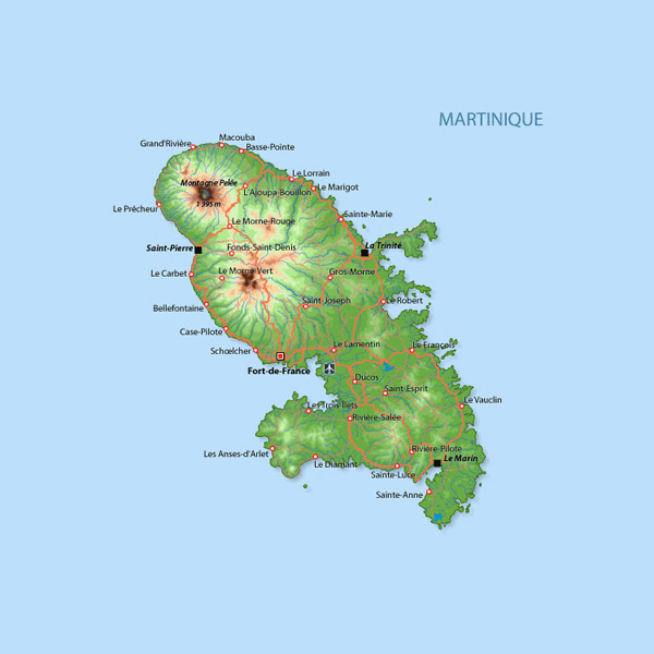 Large detailed road and physical map of Martinique.