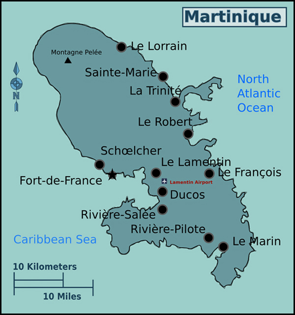 Map of Martinique with cities. Martinique map with cities.