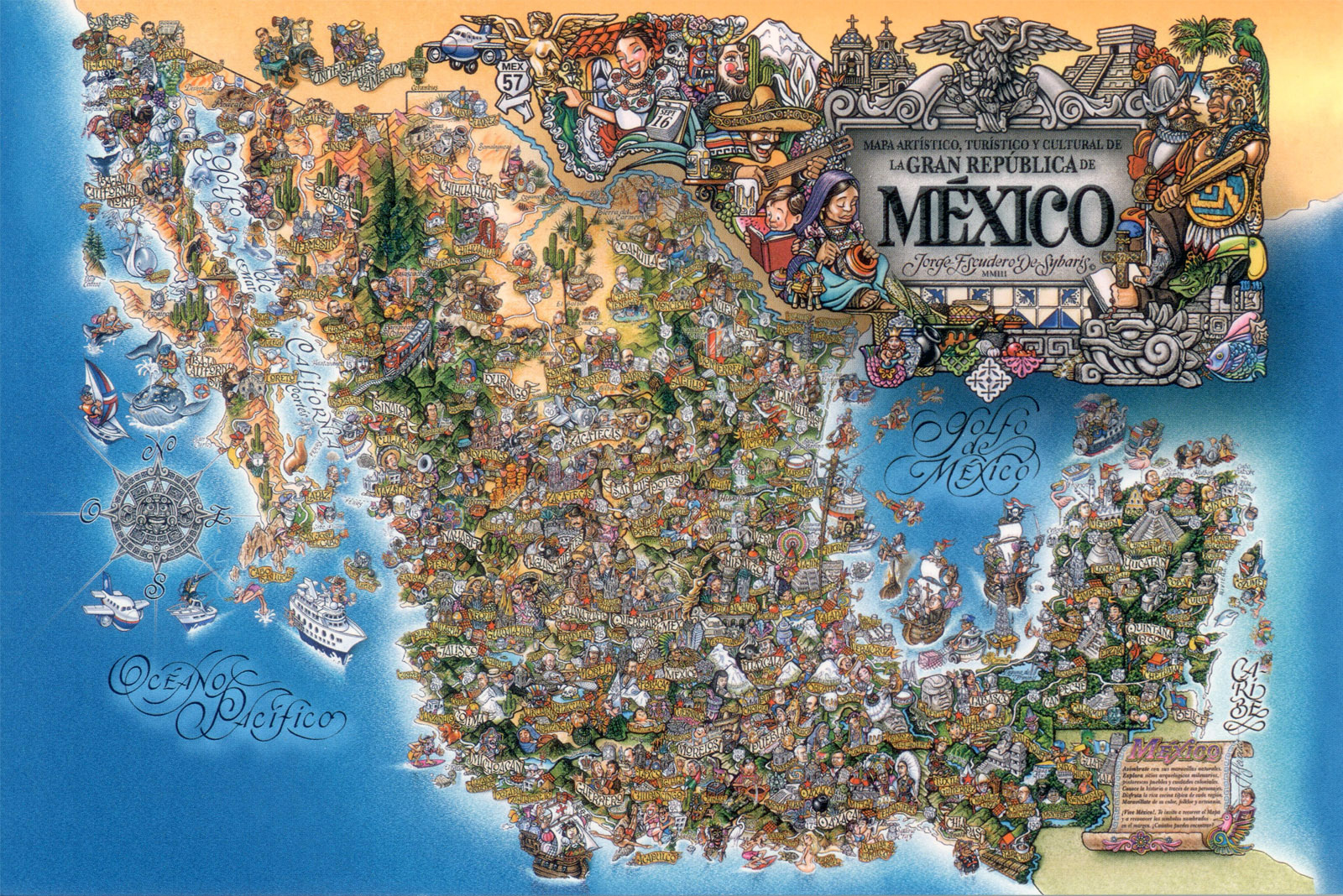 detailed tourist illustrated map of mexico mexico detailed tourist illustrated map