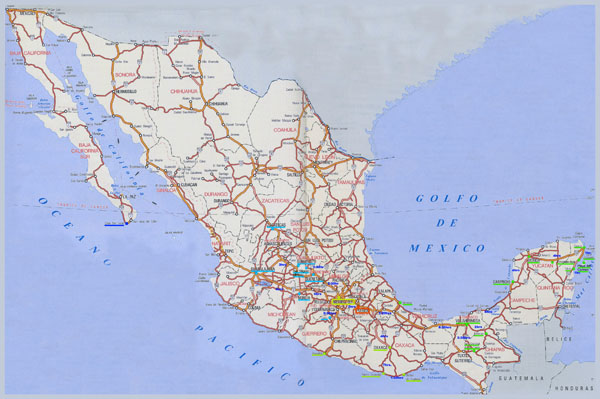 Large detailed highways map of Mexico.