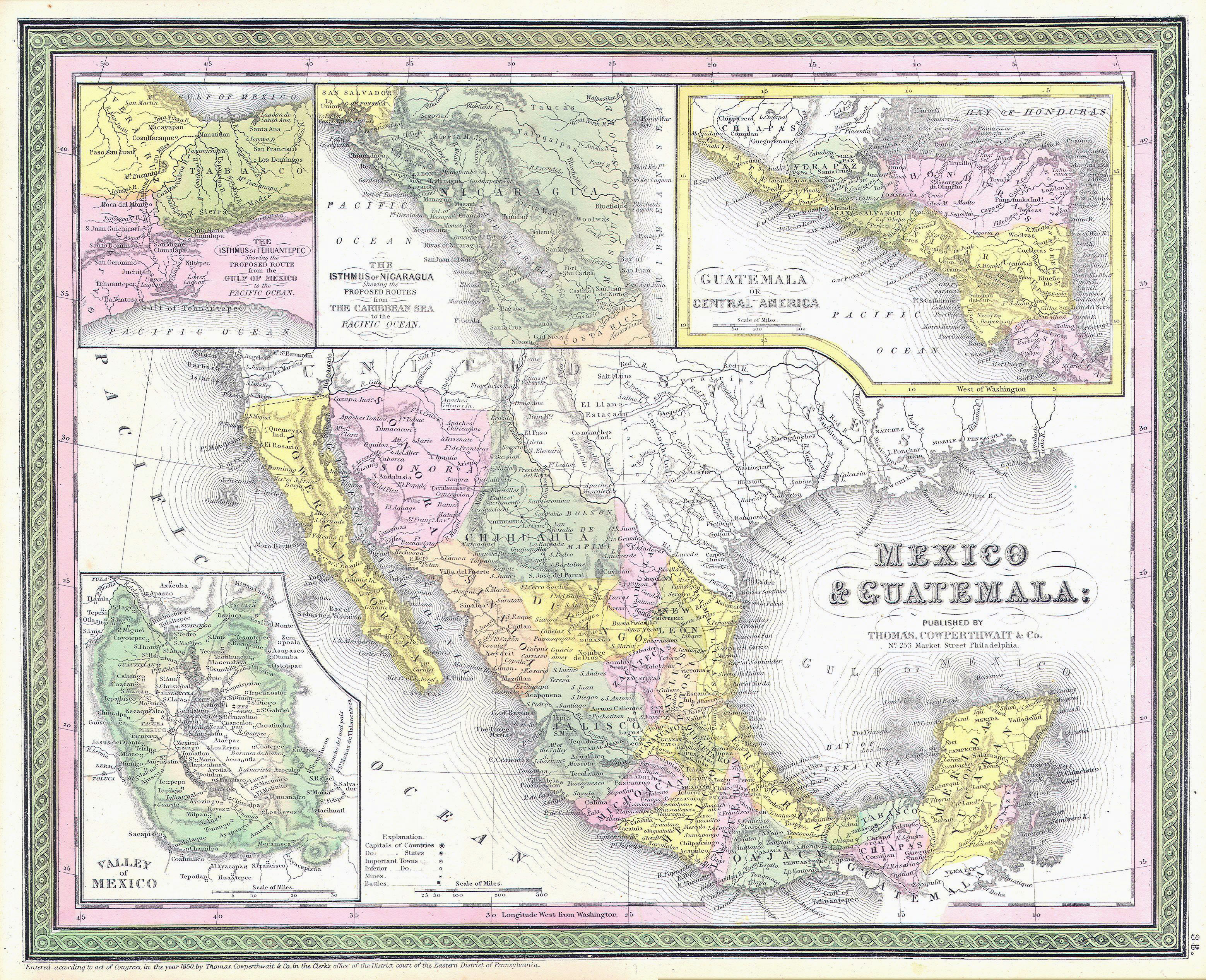Large detailed old administrative map of Mexico and Guatemala 1850