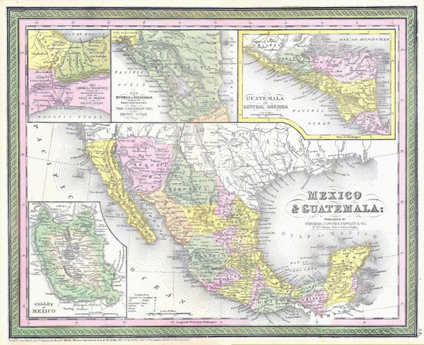 Large detailed old administrative map of Mexico and Guatemala - 1850.