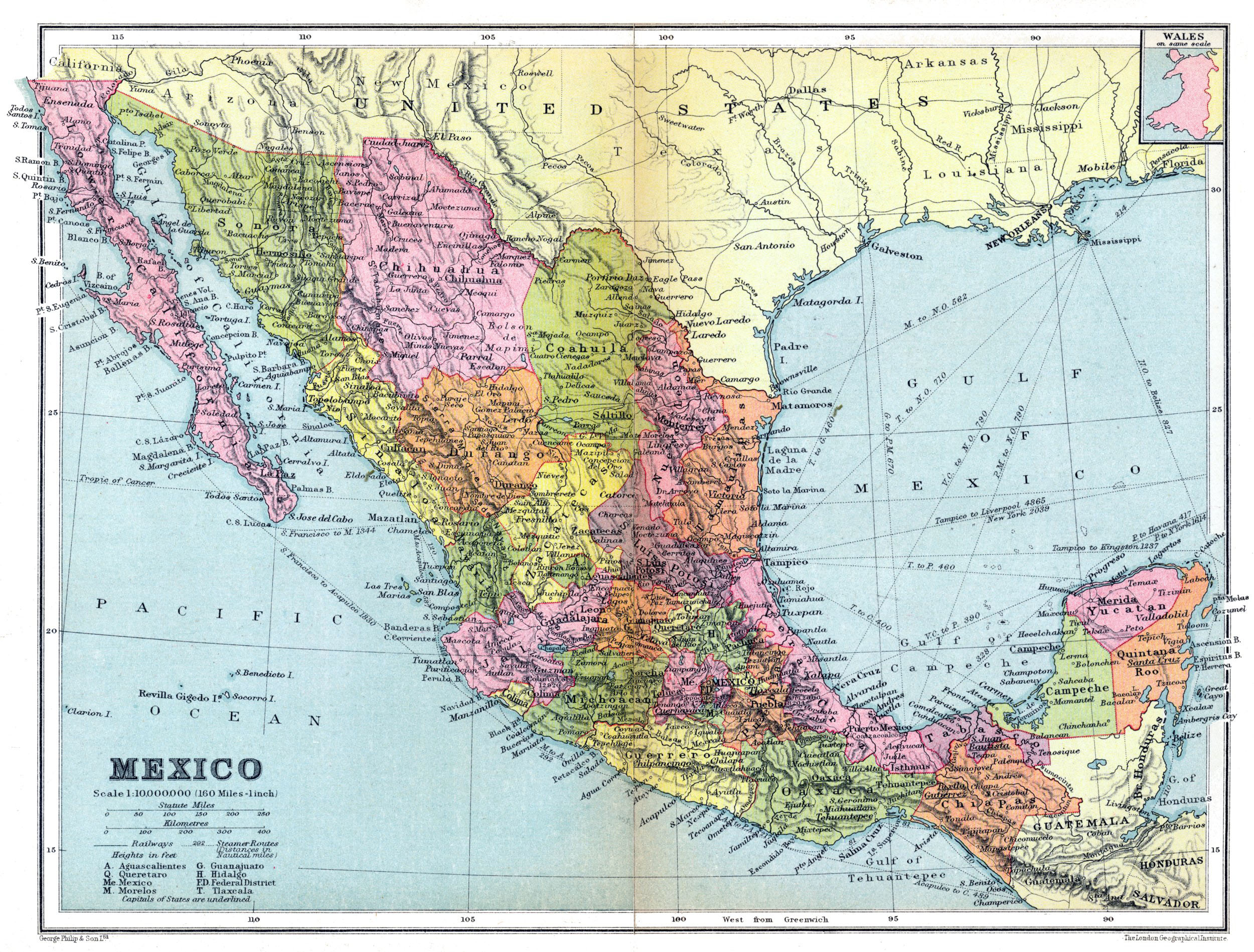 Large Detailed Old Administrative Map Of Mexico With Roads And - Mexico road map