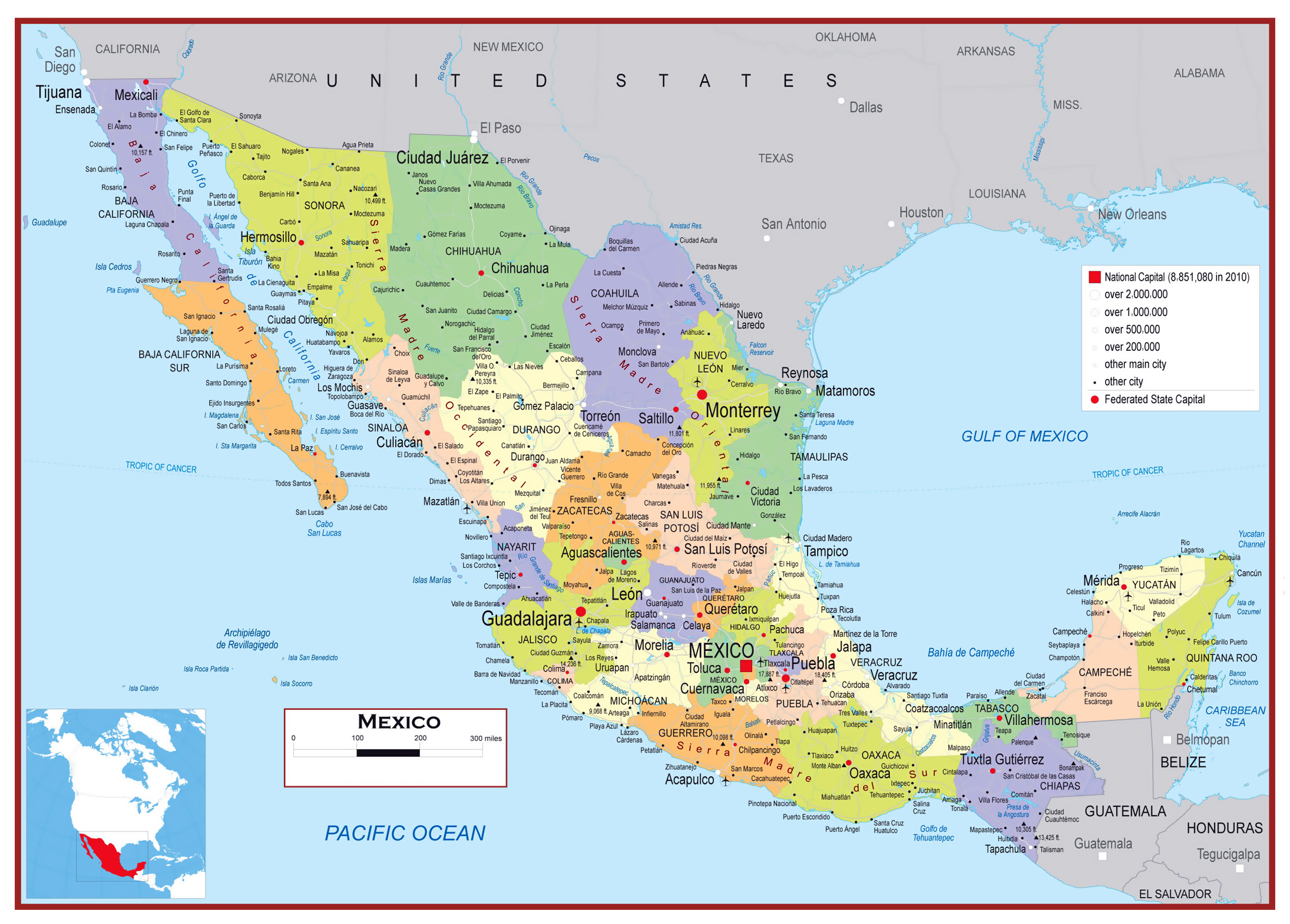 large detailed political and administrative map of mexico with roads and cities