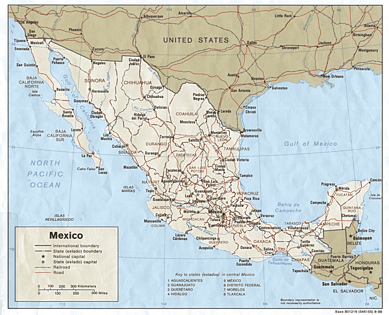 Large Detailed Political Map Of Mexico With Roads And