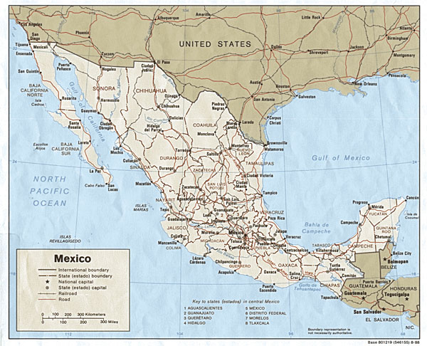 Large detailed political map of Mexico with roads and railways.