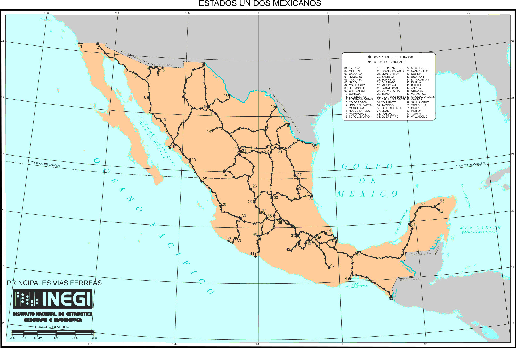 Large detailed railroads map of Mexico Mexico large detailed