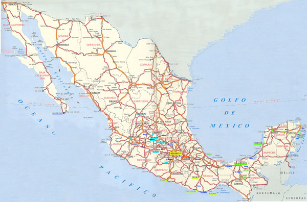 Large detailed road and highways map of Mexico.