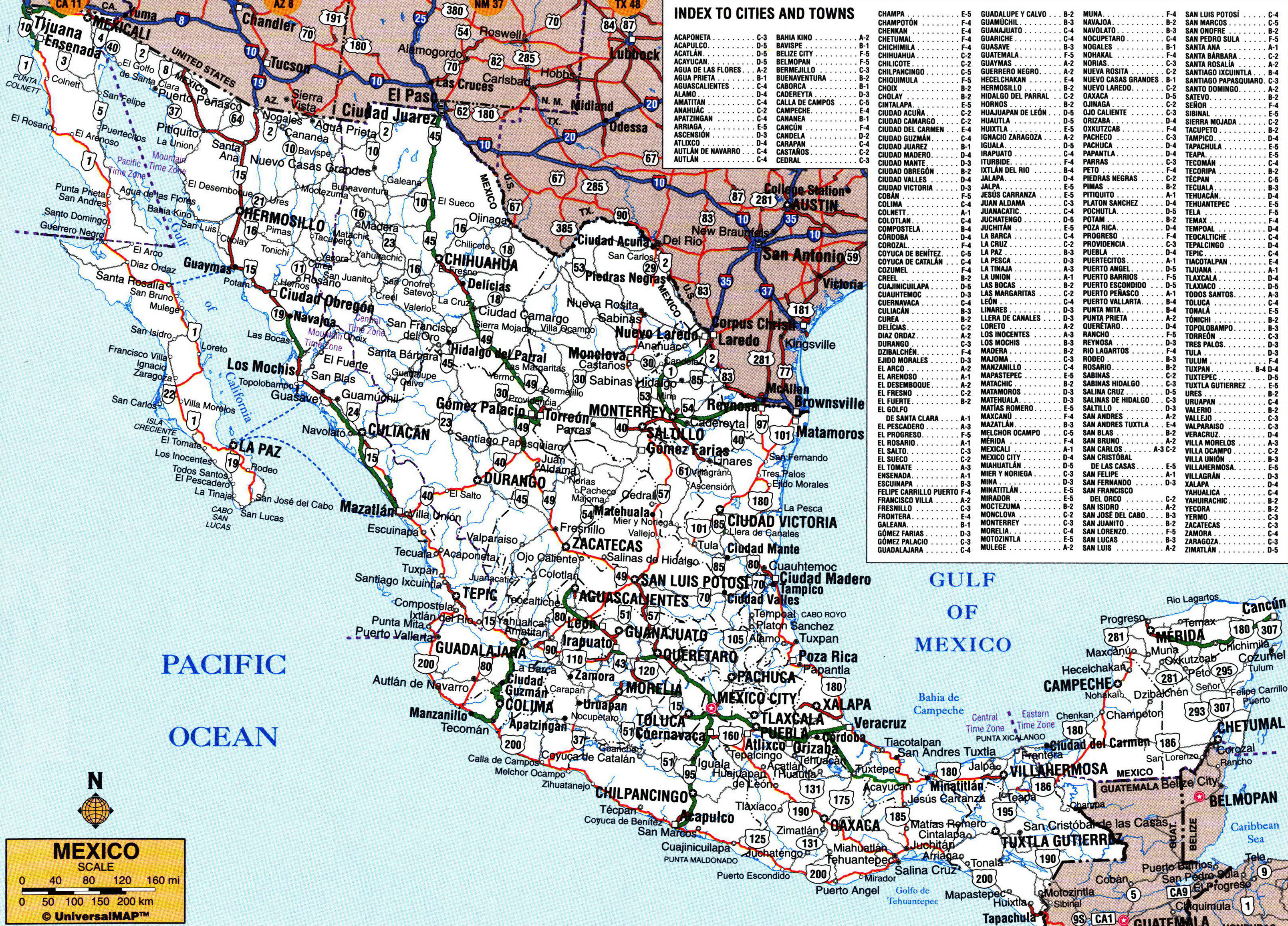 Large Detailed Roads And Highways Map Of Mexico With All Cities - Mexico road map