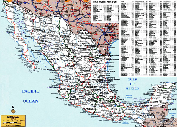 Large detailed roads and highways map of Mexico with all cities.