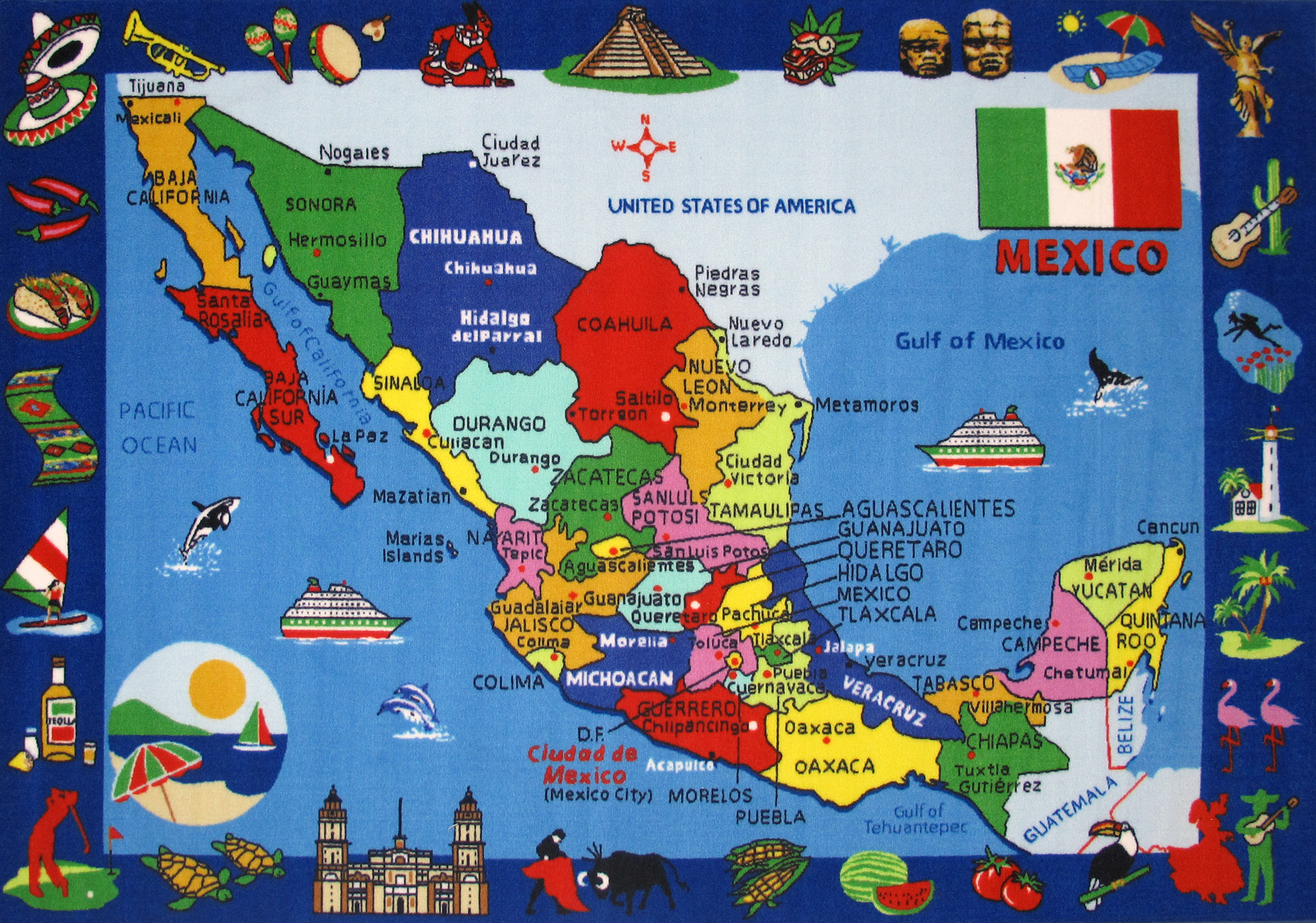 Large detailed tourist illustrated map of Mexico Mexico large