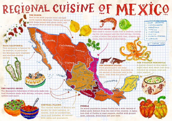Large map of regional cuisine of Mexico. Mexico regional cuisine large map.