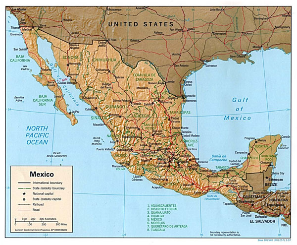 Large political and administrative map of Mexico with relief, roads and cities.