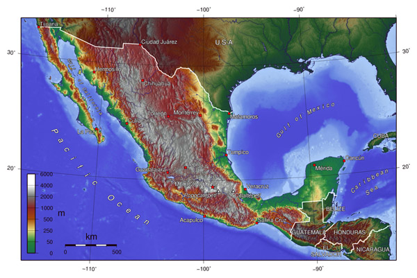 Large topographical map of Mexico. Mexico large topographical map.