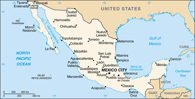 Map of Mexico with cities. Mexico map with cities.