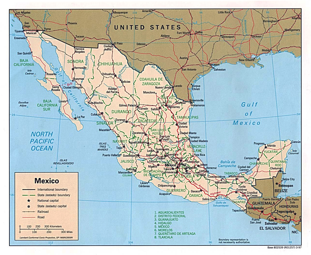 Political and administrative map of Mexico. Mexico political and ...