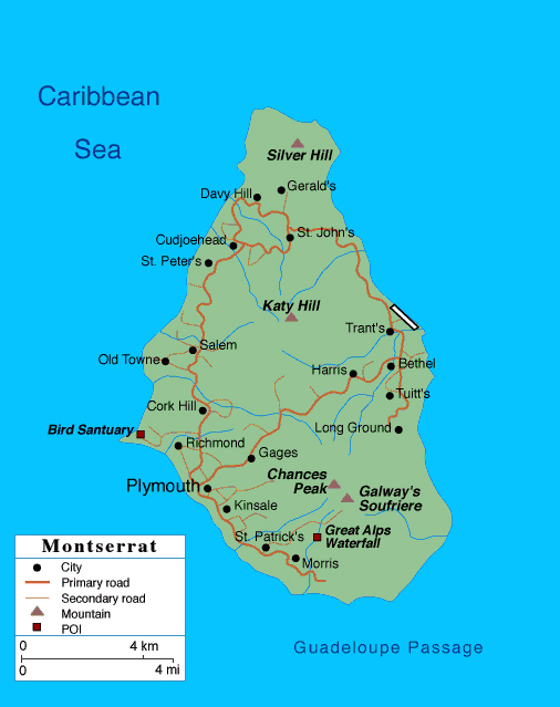 Large detailed road map of Montserrat Island with cities.