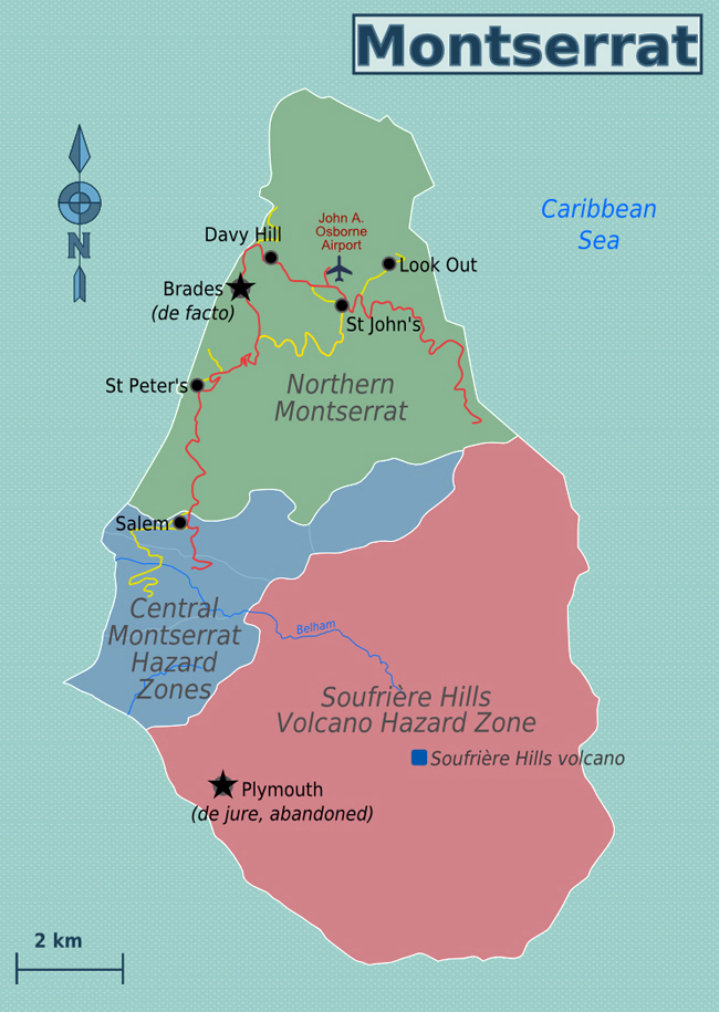 Map of Montserrat Island. Montserrat Island map | Vidiani ... Map Of Montserra on