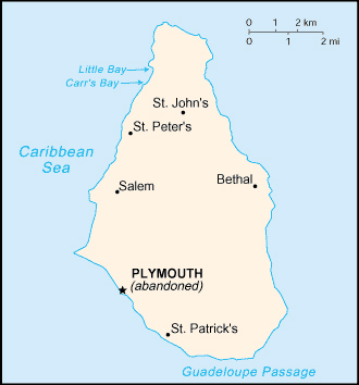 Map of Montserrat Island with cities. Montserrat Island map with cities.