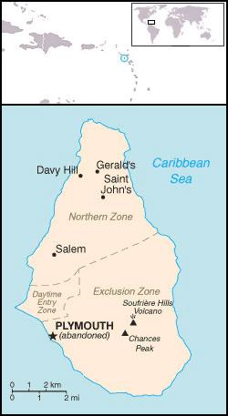 Island Montserrat Map