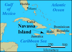 Navassa Island located map. Located map of Navassa Island.