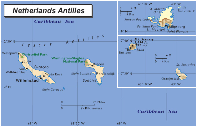 Detailed political and physical map of Netherlands Antilles ...
