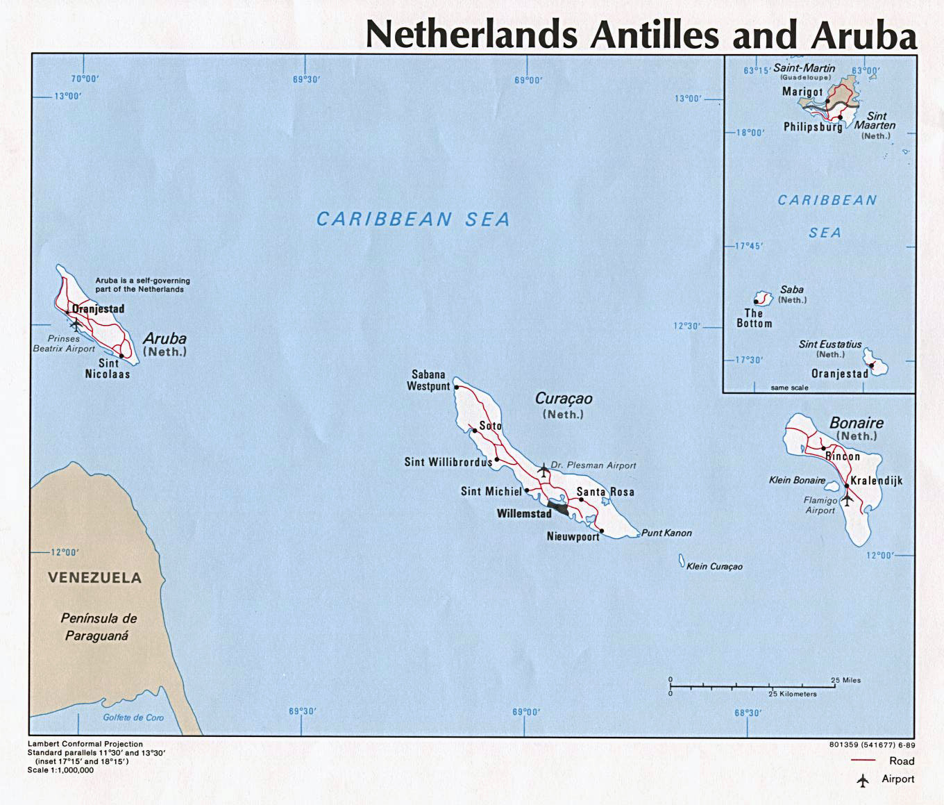 Detailed political map of Netherlands Antilles and Aruba