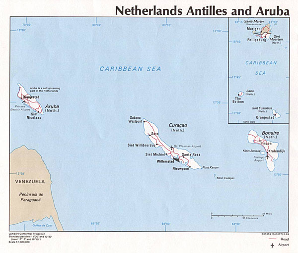 Detailed political map of Netherlands Antilles and Aruba.