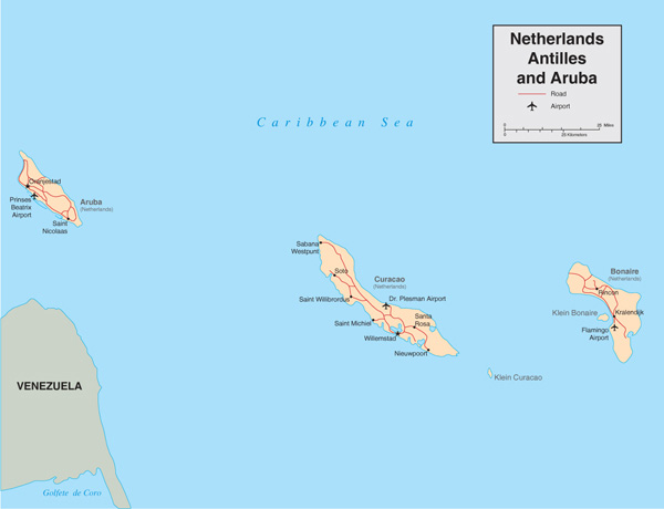 Detailed political map of Netherlands Antilles and Aruba with roads and airports.