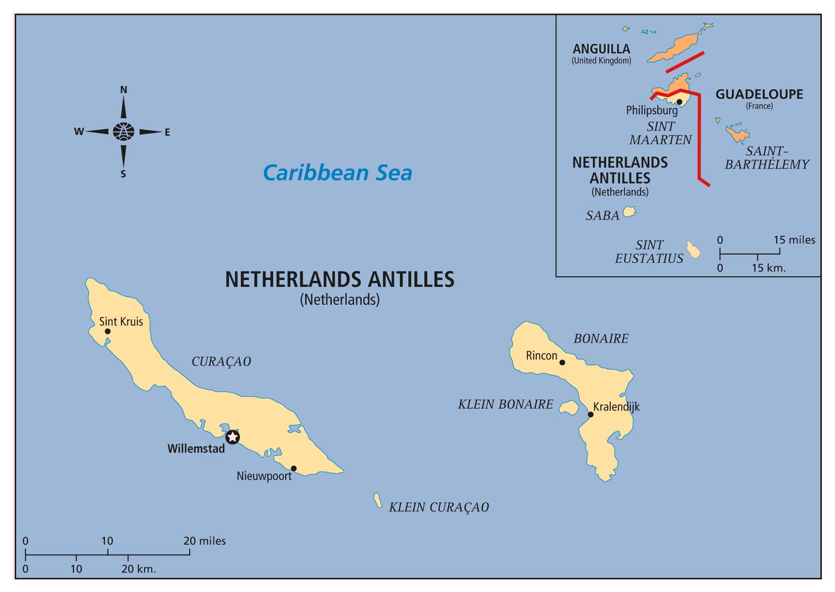 Large detailed political map of Netherlands Antilles Netherlands