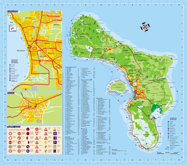 Large detailed road map of Bonaire Island, Netherlands Antilles.