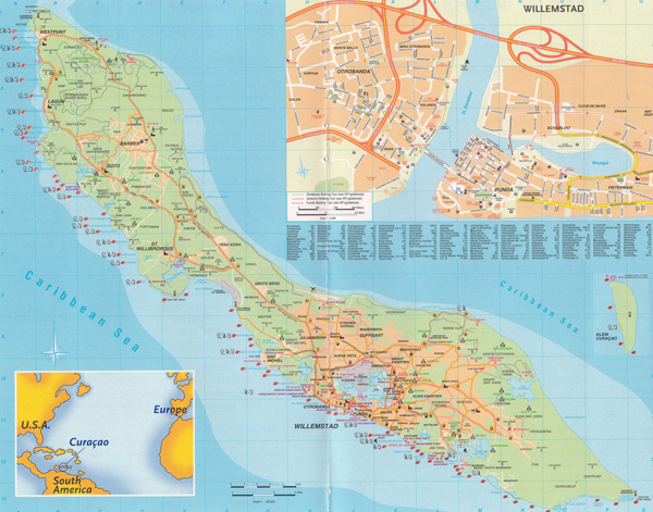 Large detailed road map of Curacao Island, Netherlands Antilles.