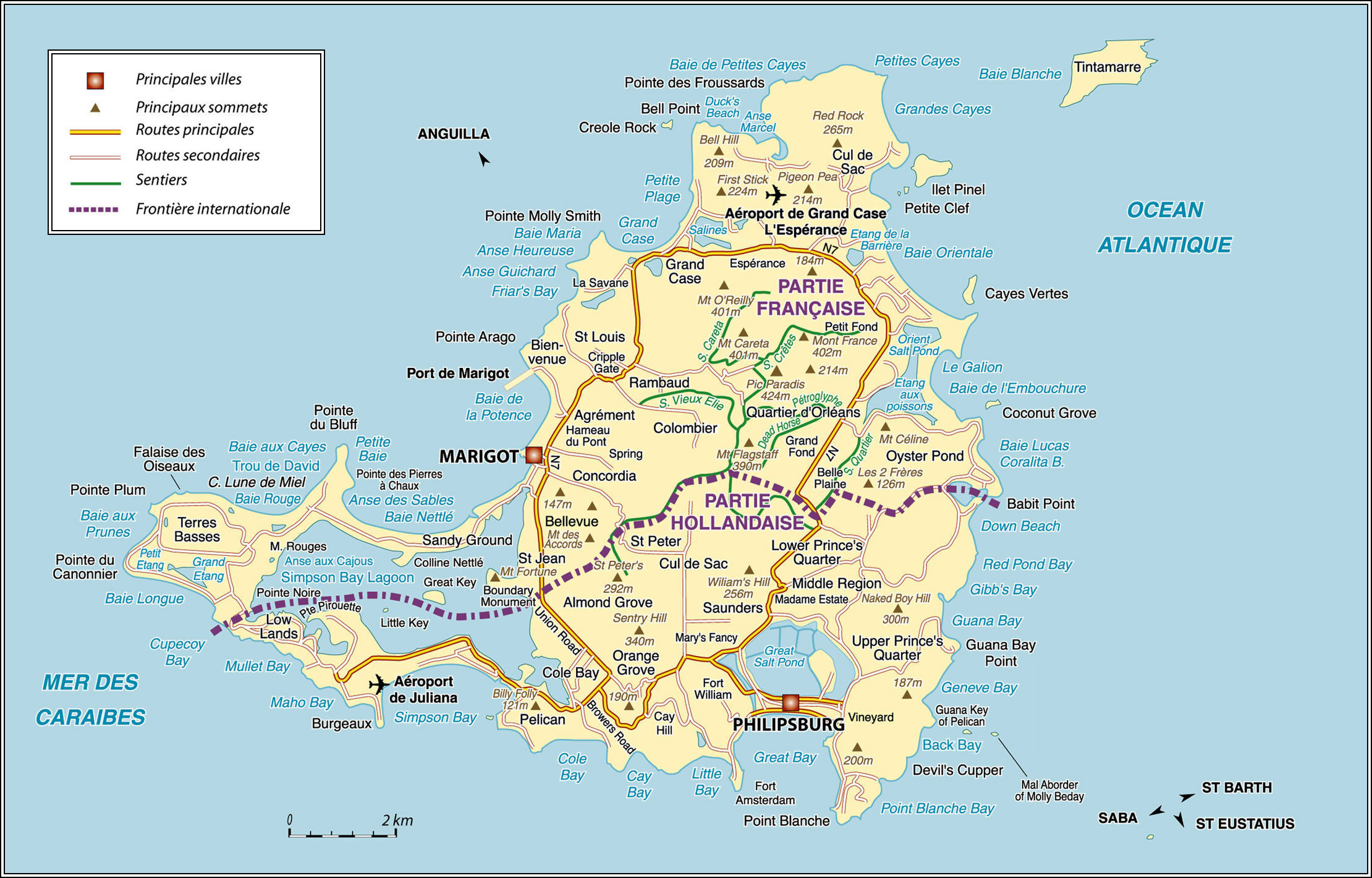 St Maarten Tourist Map Large Detailed Road And Physical Map Of St - Sint maarten map download