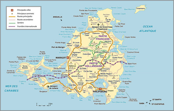Road map of Saint Martin Island, Netherlands Antilles.
