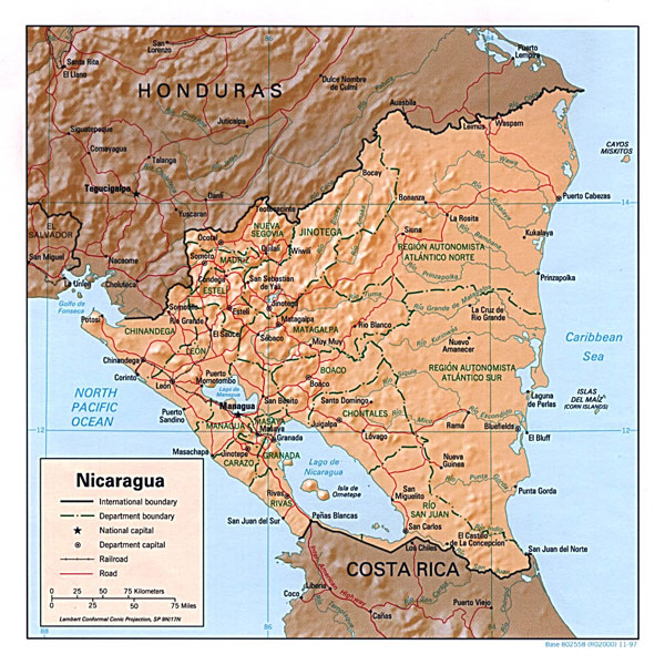 Detailed relief and political map of Nicaragua.