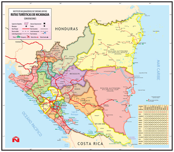 Large detailed administrative map of Nicaragua.